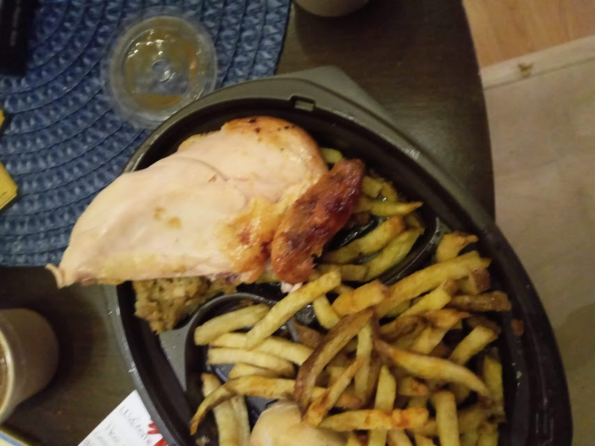 Undercooked chicken, cold fries and also no skin on the chicken breast