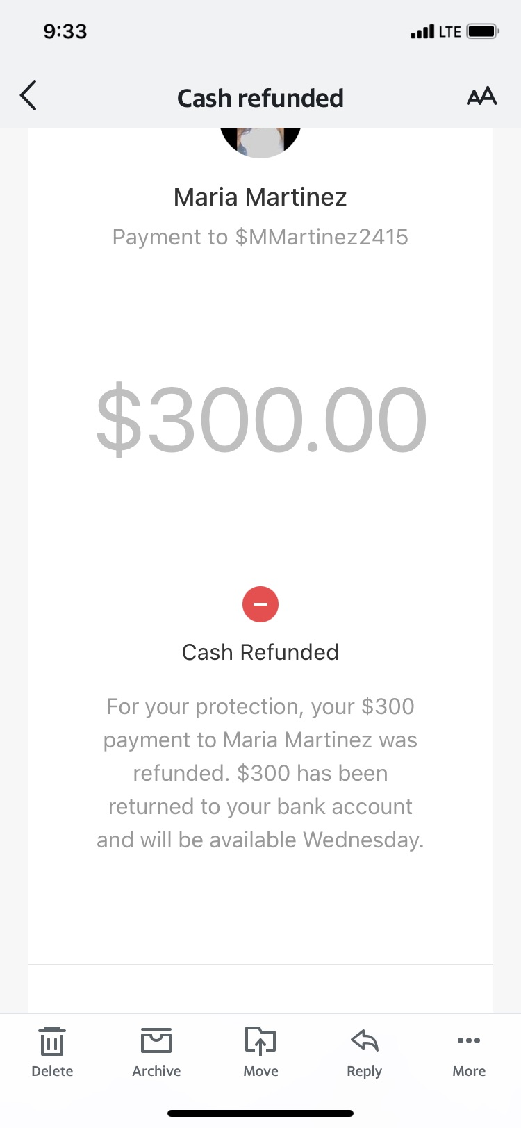 Canceled payment hasn't been returned