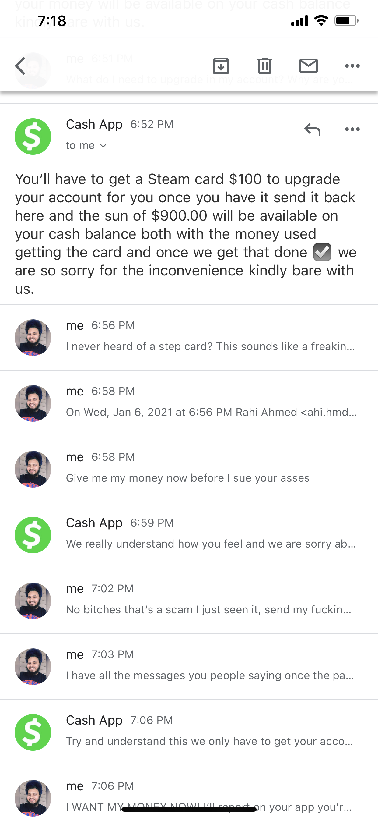 Cash app trying to scam me