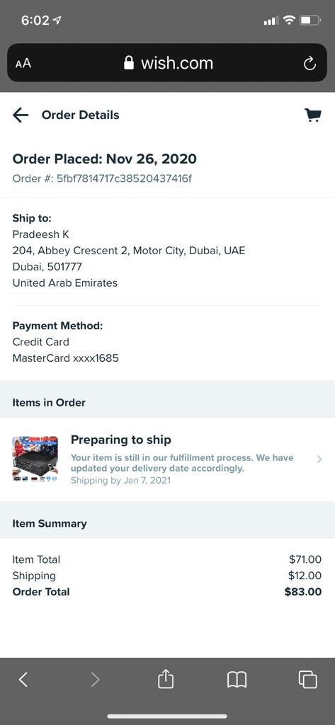 Order hasn't shipped after 2 months