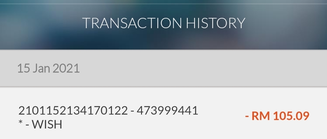 My status order. Payment done