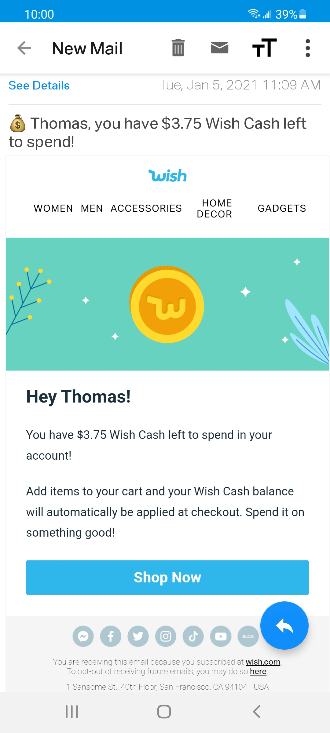 Could not use my Wish cash on my order