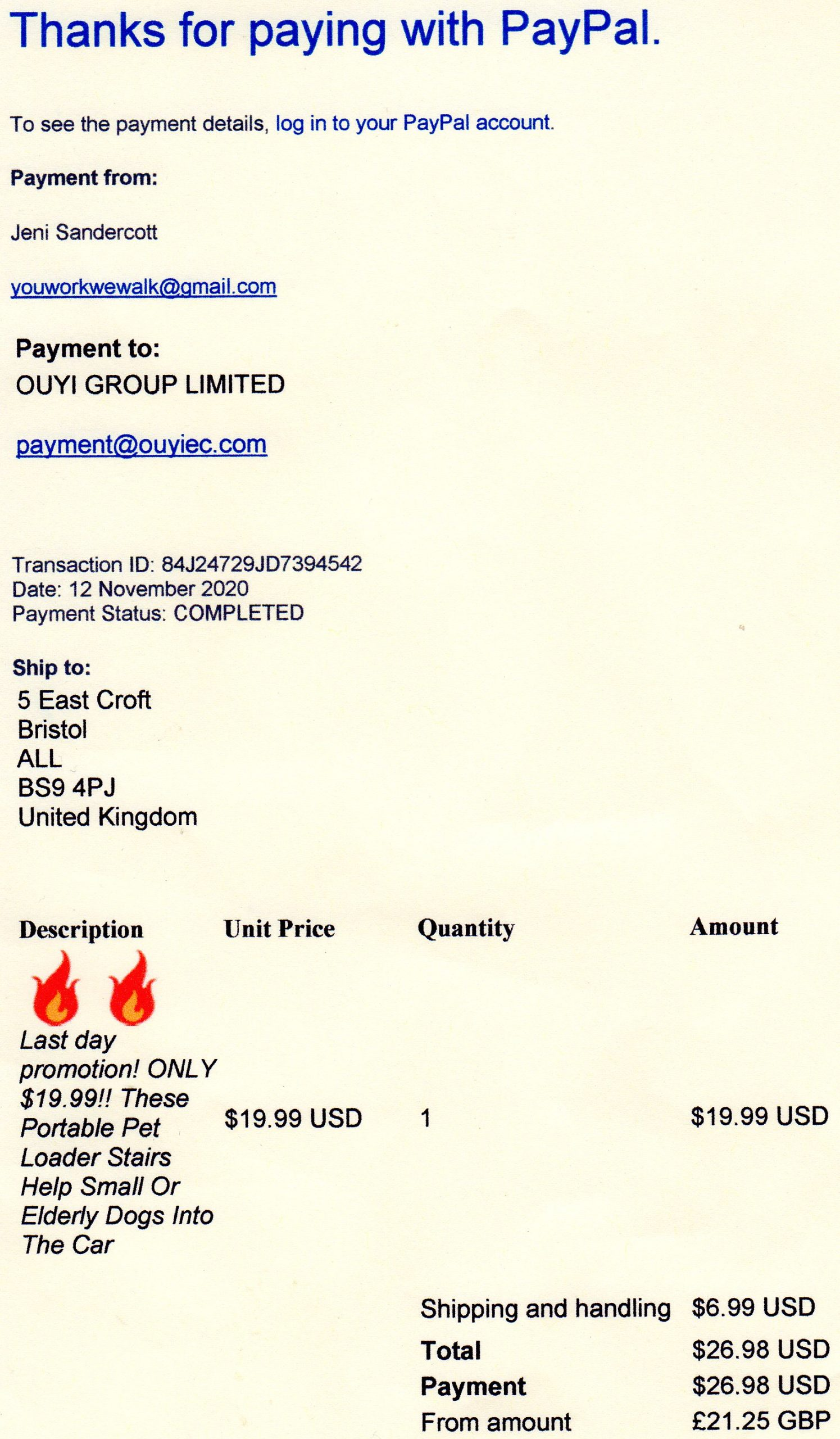 Order and paid for months ago 11th November