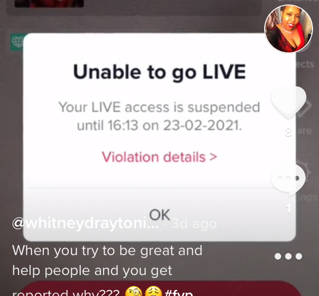 Banned from live and did nothing wrong