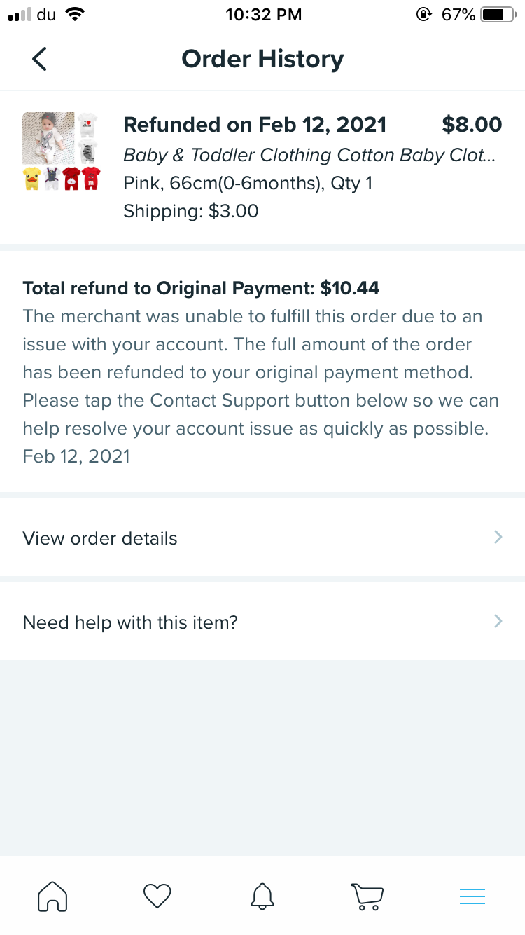 Refund, payment issues