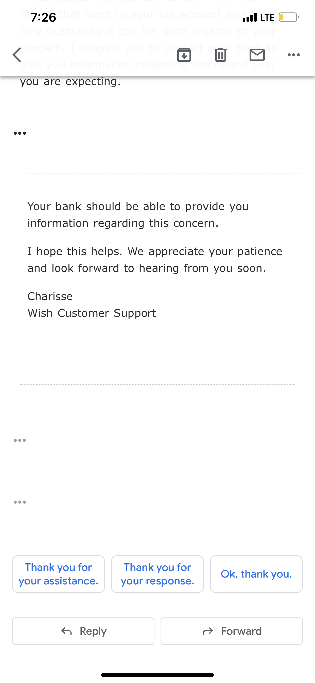 Never received refunded money