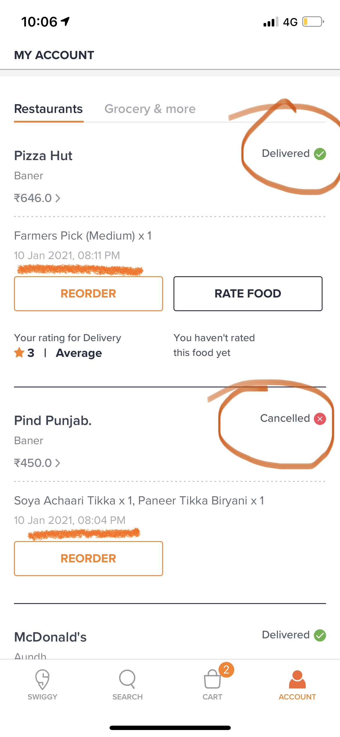 Delivery guy paid cash from me and did not update in the app