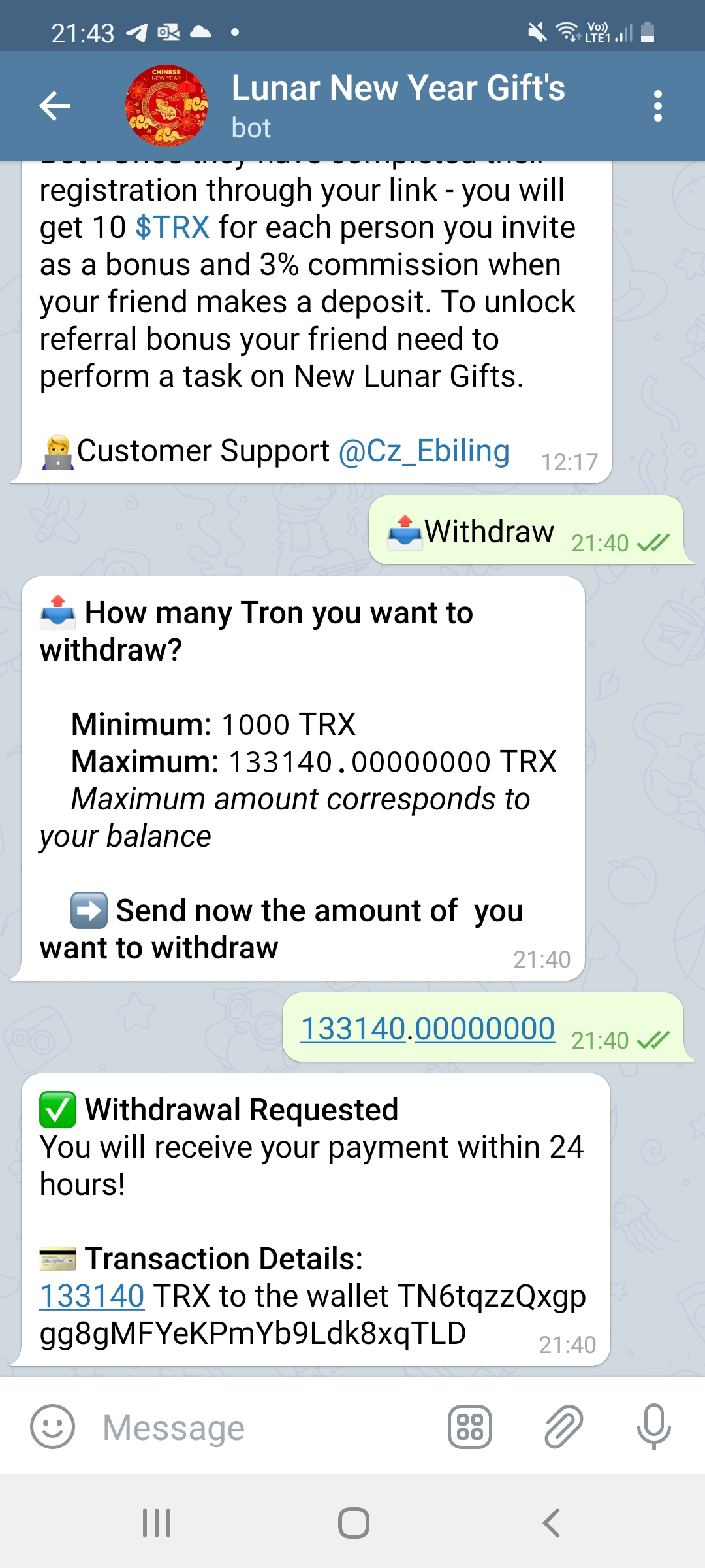 Bot taking money for withdrawal and not paying