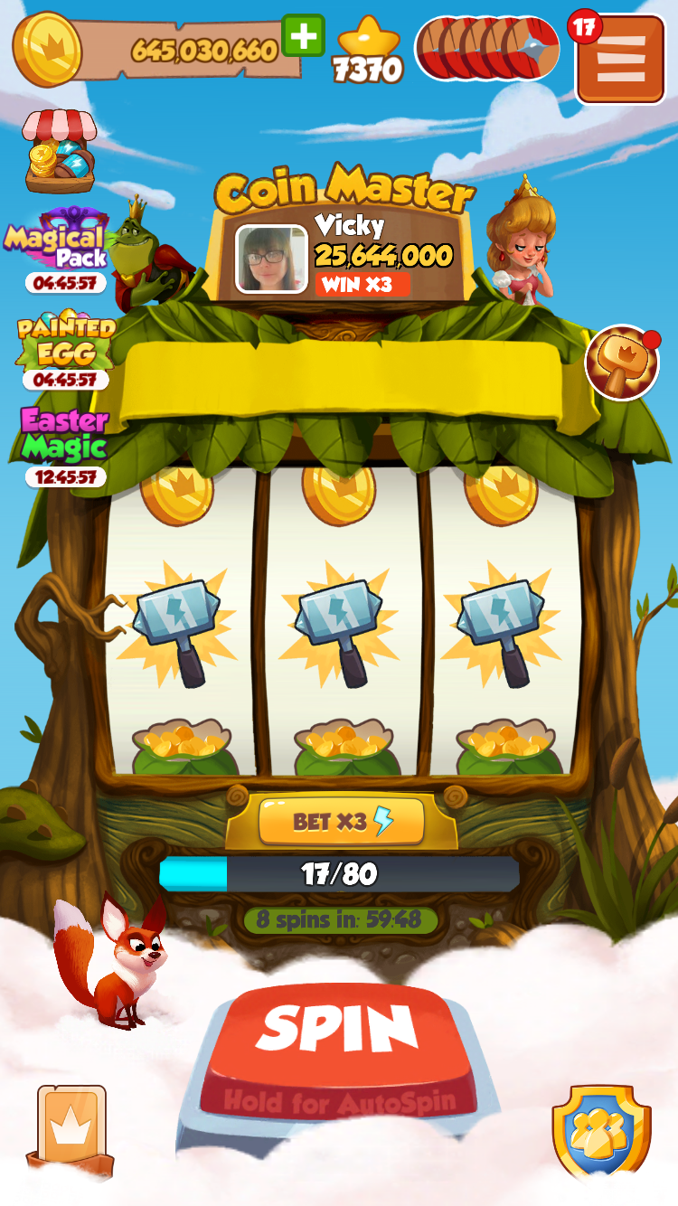 Loss of coins and potential spins