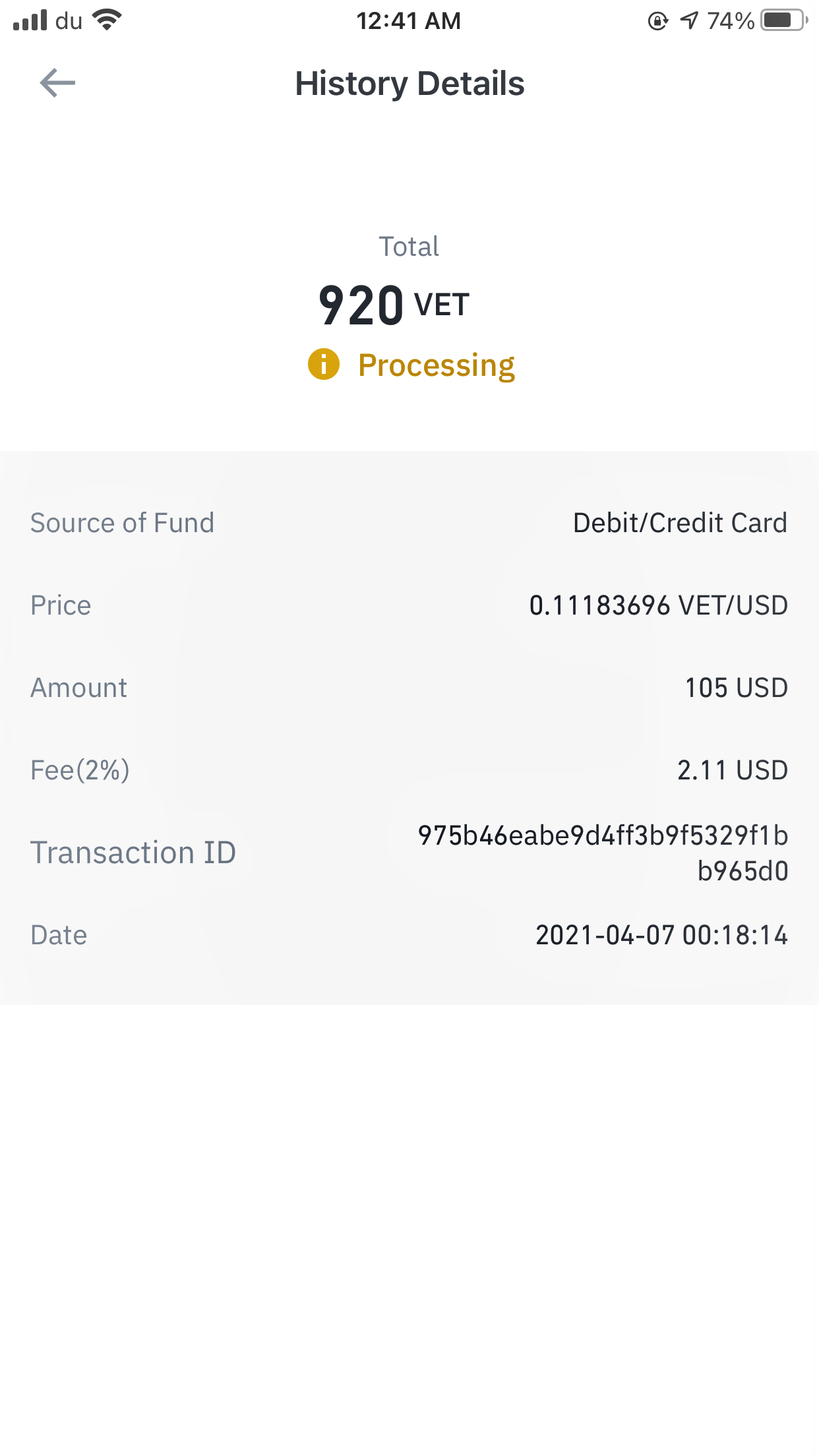 Transaction done on 7th April 2021 still shows processing