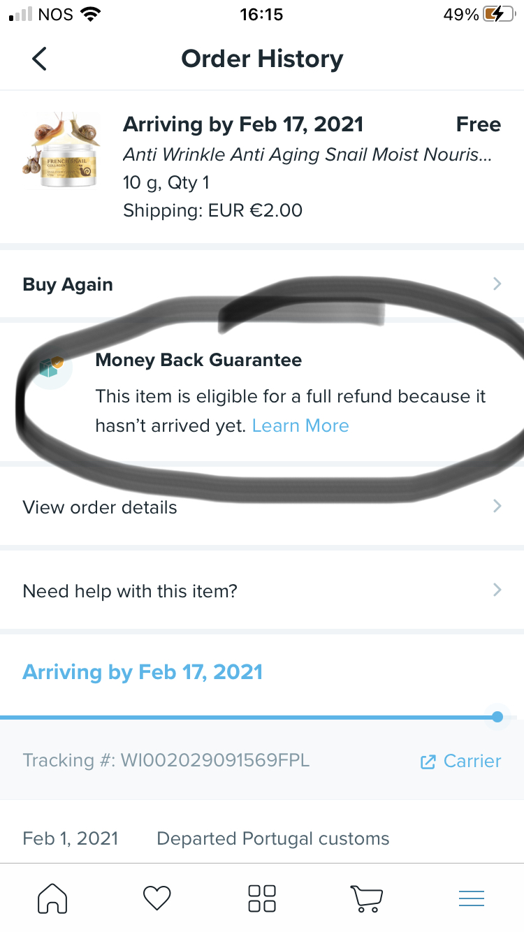 Wish refuse refund for item not received
