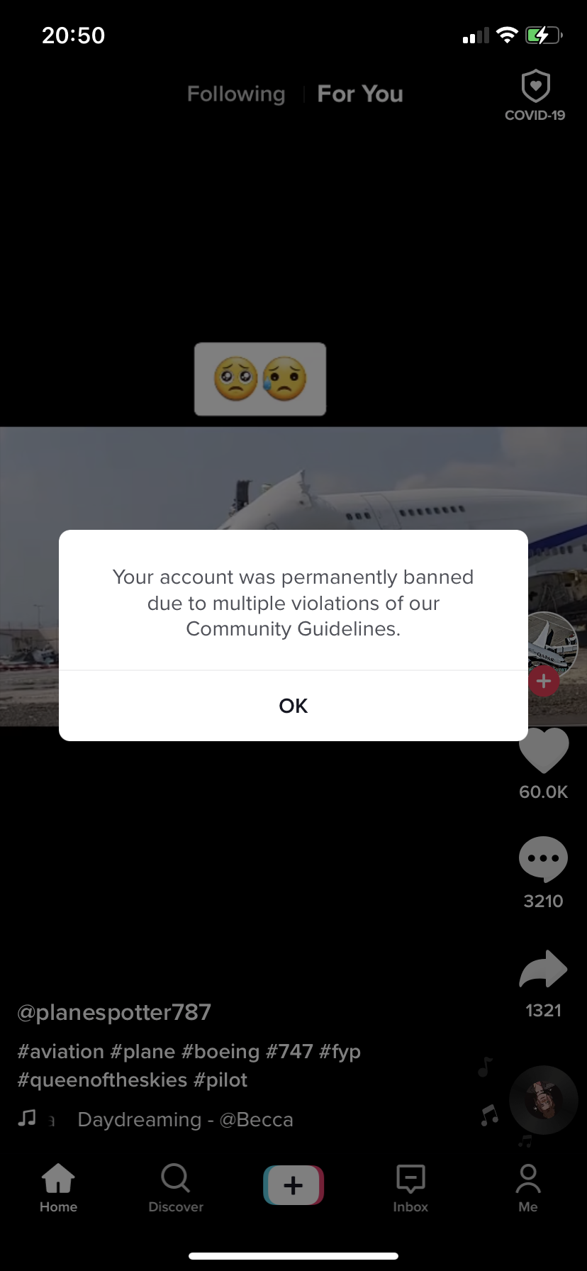 My account been deleted