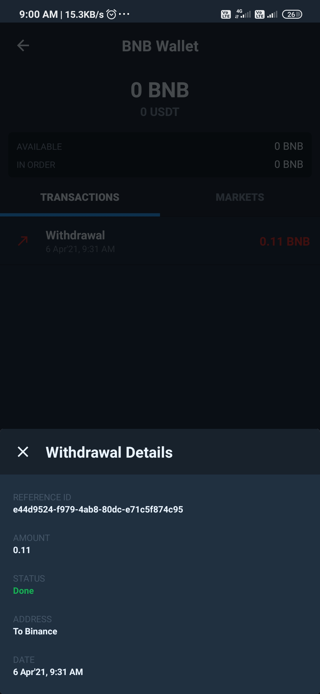 Bnb transferred by not received