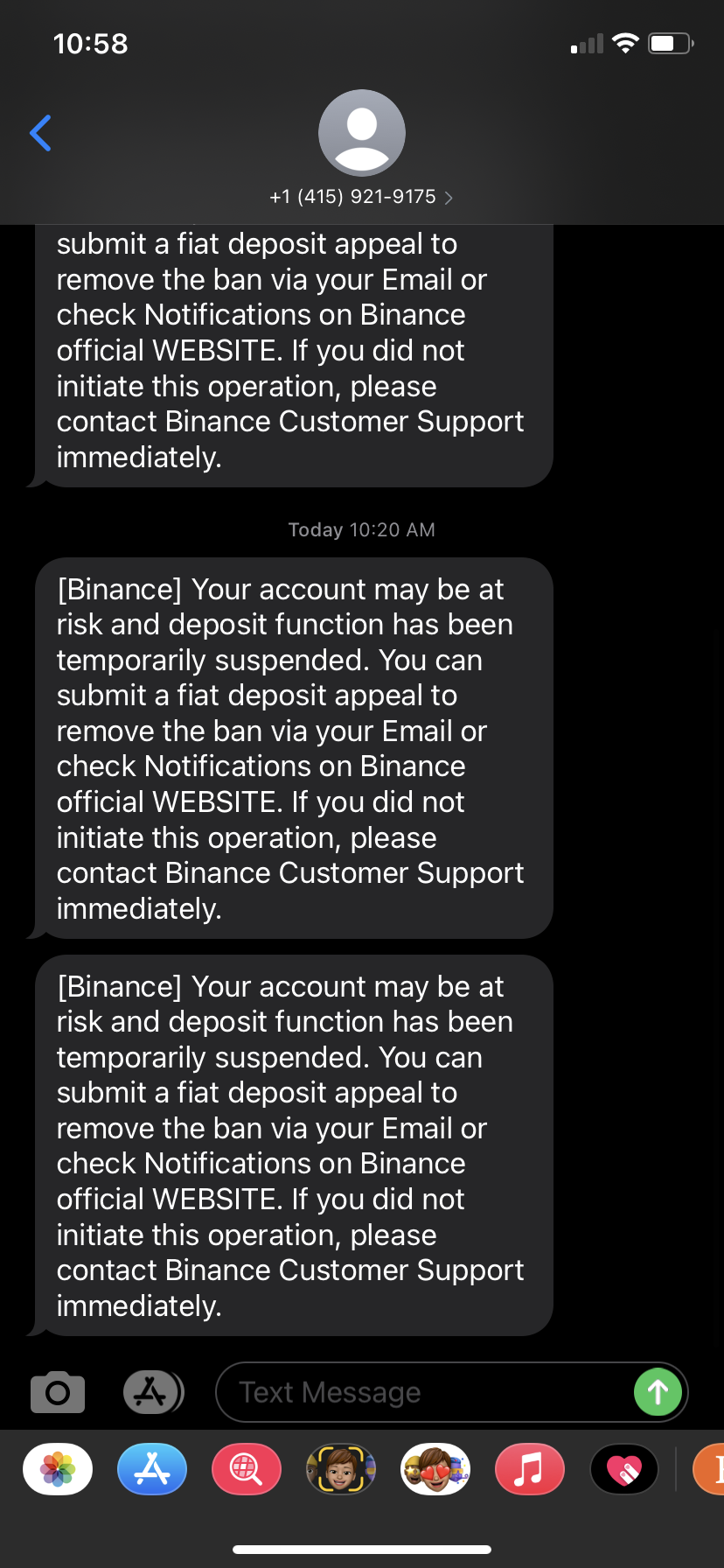 Deposit function temporarily suspended