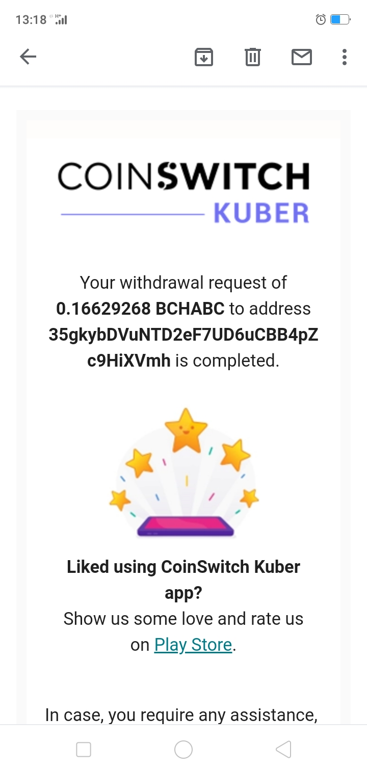 Transfer of 0.16629268 BCHABC of my coinswitch kuber account to my COINBASE ACCOUNT of Bitcoin wallet address.     35gkybDVuNTD2eF7UD6uCBB4pZc9HiXVmh