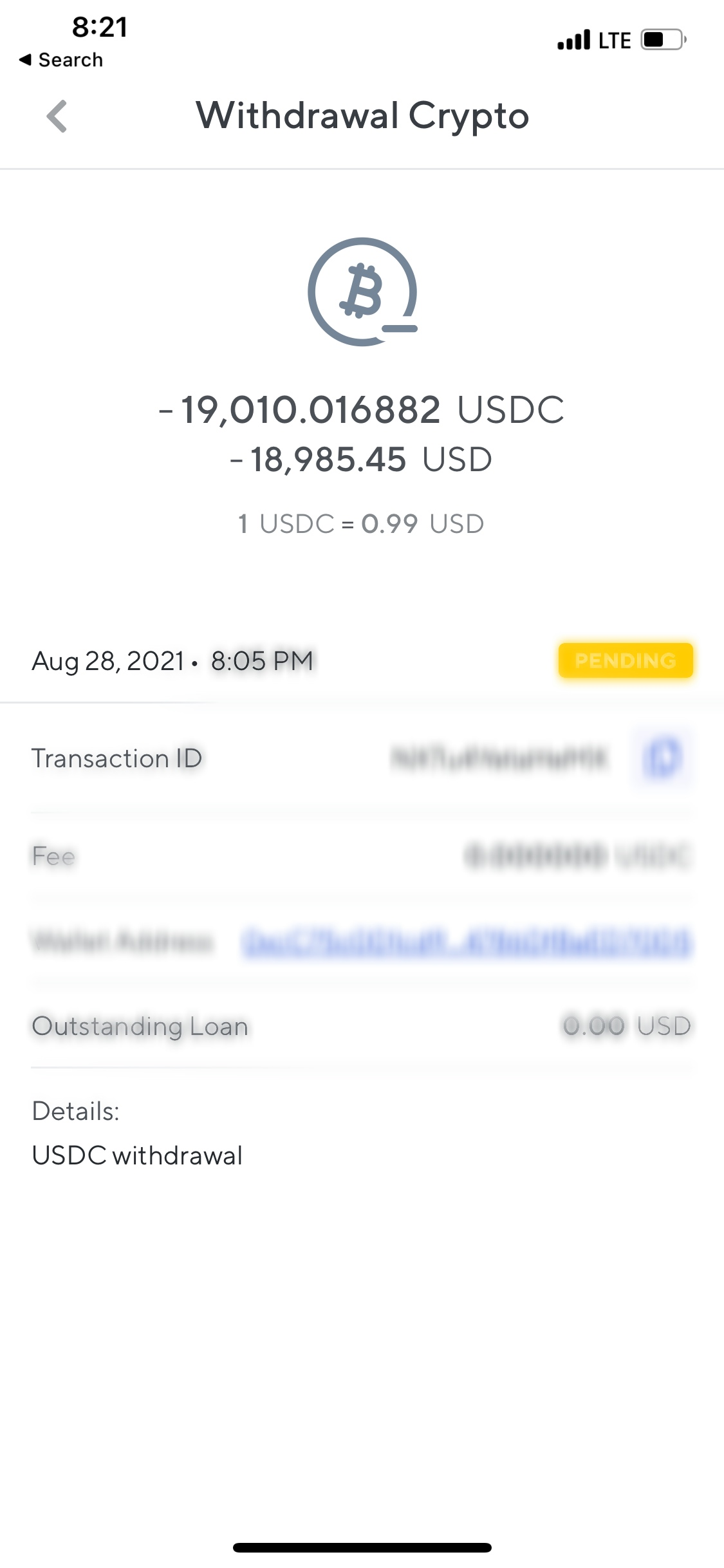 Nexo will not complete my transfer